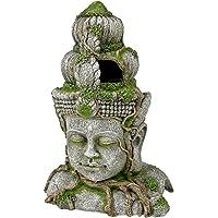 """Rosewood 91697 Akvarieprydnad""""stenhuvud"""" av harts med växter, stor"""