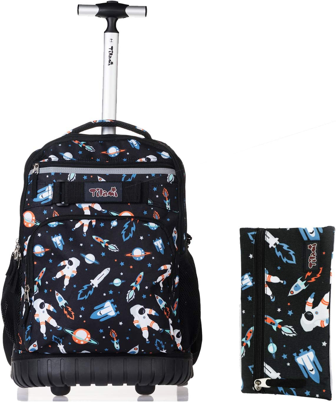 Tilami Rolling Backpack 18 inch with Pencil Case Wheeled Laptop Bag, Astronaut