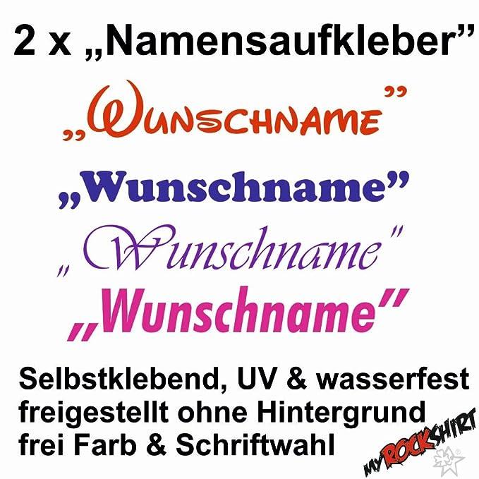Namenssticker myrockshirt 2X Namensaufkleber Leon Name Wunschname Aufkleber UV /& wasserfest Namensetiketten freie Farbwahl Namen Sticker Schriftart w/ählbar Namensschilder Namensaufkleber
