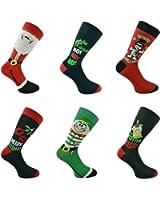 6 Paar Herren oder Damen Strümpfe, Socken, für Weihnachten Weihnachts-Motiv, Ideal als kleines Weihnachtsgeschenk
