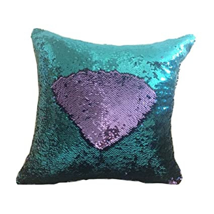 fengheshun reversible sequins mermaid pillow covers magical color changing pillowcase purpleblue - Color Changing Pillow