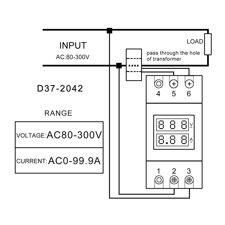 Drok Rail Type Voltage Current Meter Digital Multimeter Voltmeter Wiring Diagram 300v Electric Motorcycle Ammeter Ac 80 Tester 0 999a Amp Transformer
