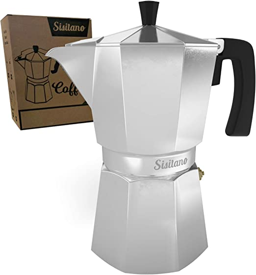 6 Cup Moka Pot (Mocha Pot) - Stovetop Espresso Maker - The Perfect Stove Top Italian Coffee Maker - Sisitano