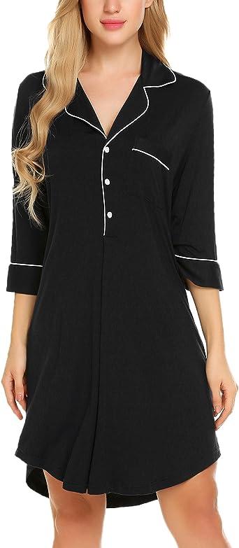 Ekouaer Womens Lace Trim Nightshirt 3//4 Sleeve Button Down Nightgown V-Neck Sleepwear Pajama Dress Robe with Pockets