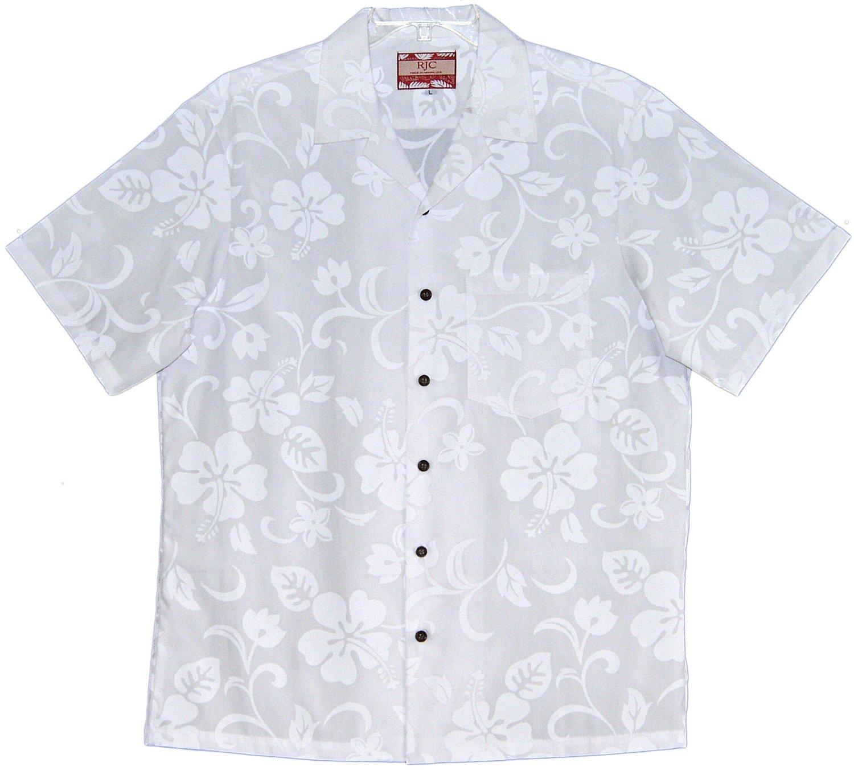 RJC Mens Classic Hibiscus Wedding White Shirt - 5X
