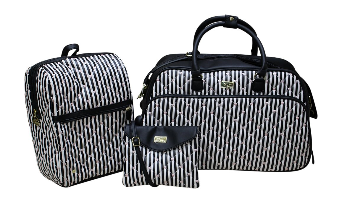 Betsey Johnson 'LUV Betsey' Quilted 3-in-1 Weekender - Black and White