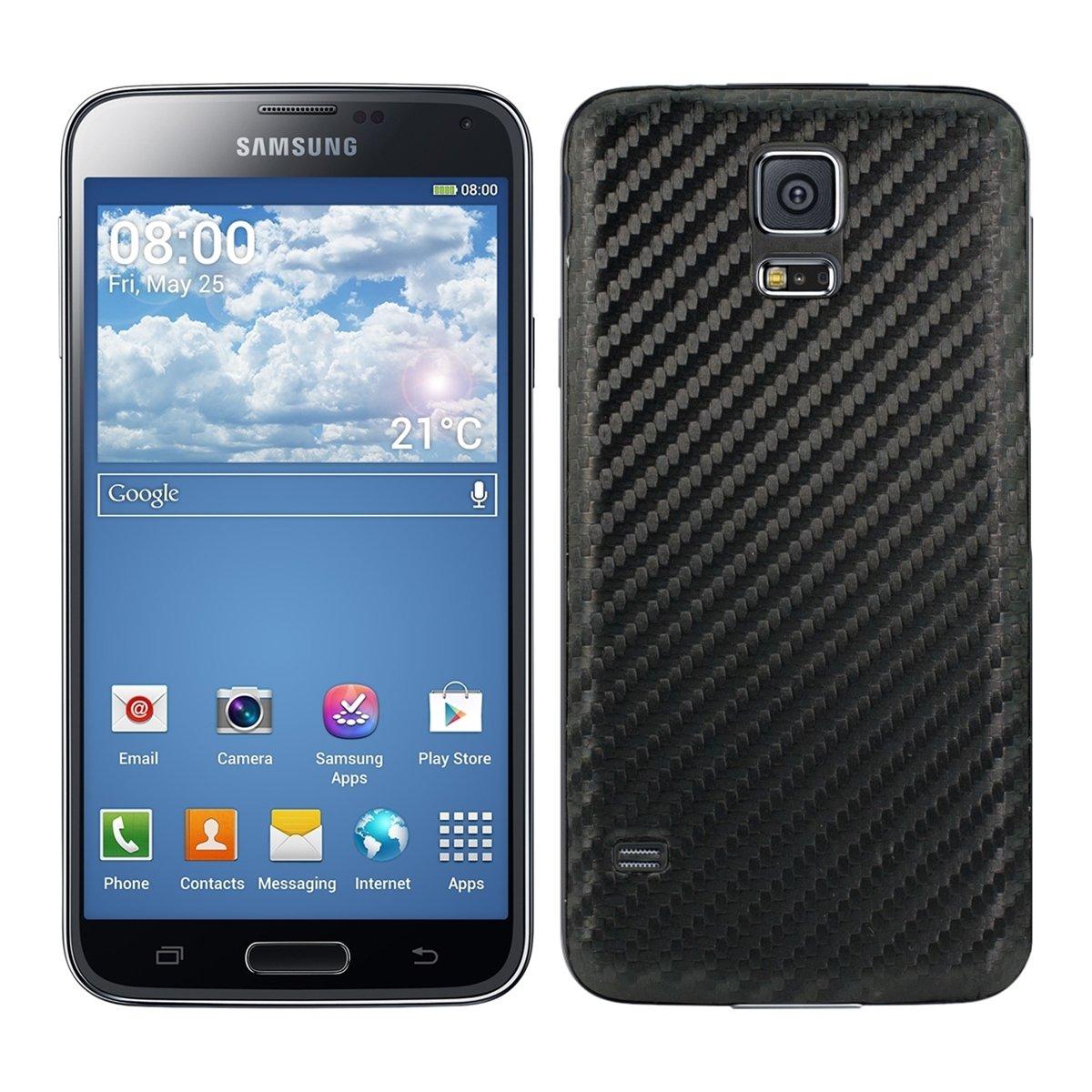kwmobile Tapa para batería con Aspecto de Carbono para el Samsung Galaxy S5 / S5 Neo en Color Negro - complementa el diseño de su Samsung Galaxy S5 / ...