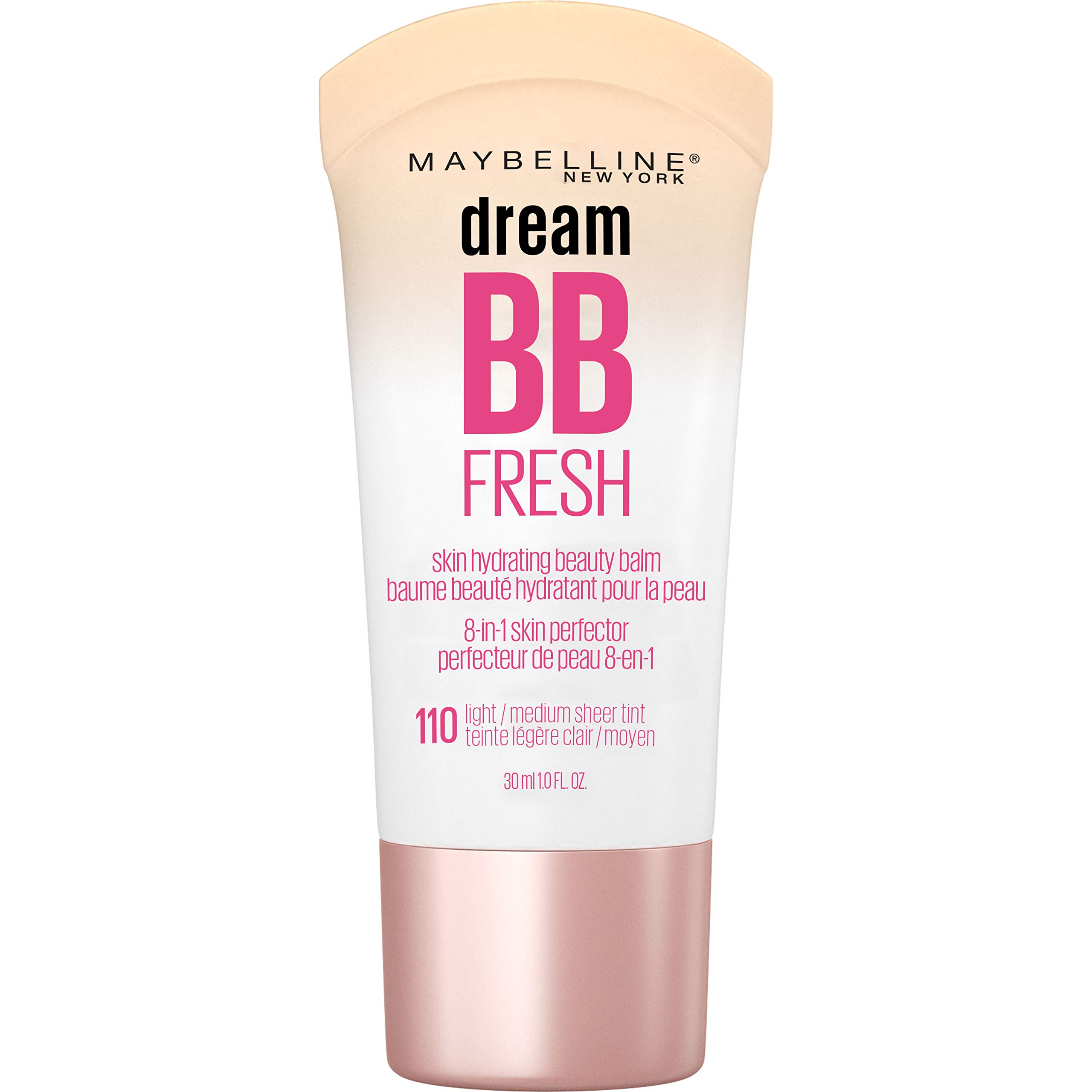 Maybelline Dream Fresh Skin Hydrating BB cream, 8-in-1 Skin Perfecting Beauty Balm with Broad Spectrum SPF 30, Sheer Tint Coverage, Oil-Free, Light/Medium, 1 Fl Oz