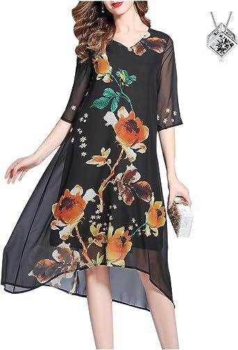 Vestiti Eleganti In Seta.Biilyli Estate Donna Vintage Seta Chiffon Vestito Sciolto Elegante