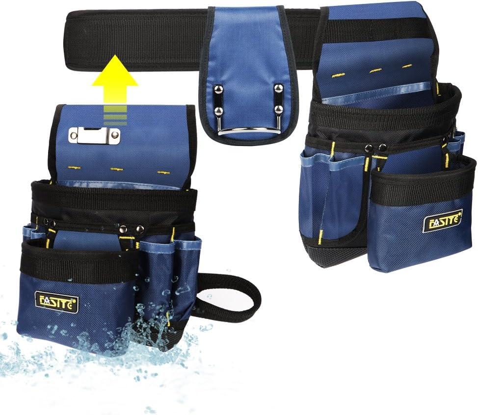 FASITE PTN012A 32-Pocket 2 Pouch Utility Multifunction Tool Belt Bag, Blue - -