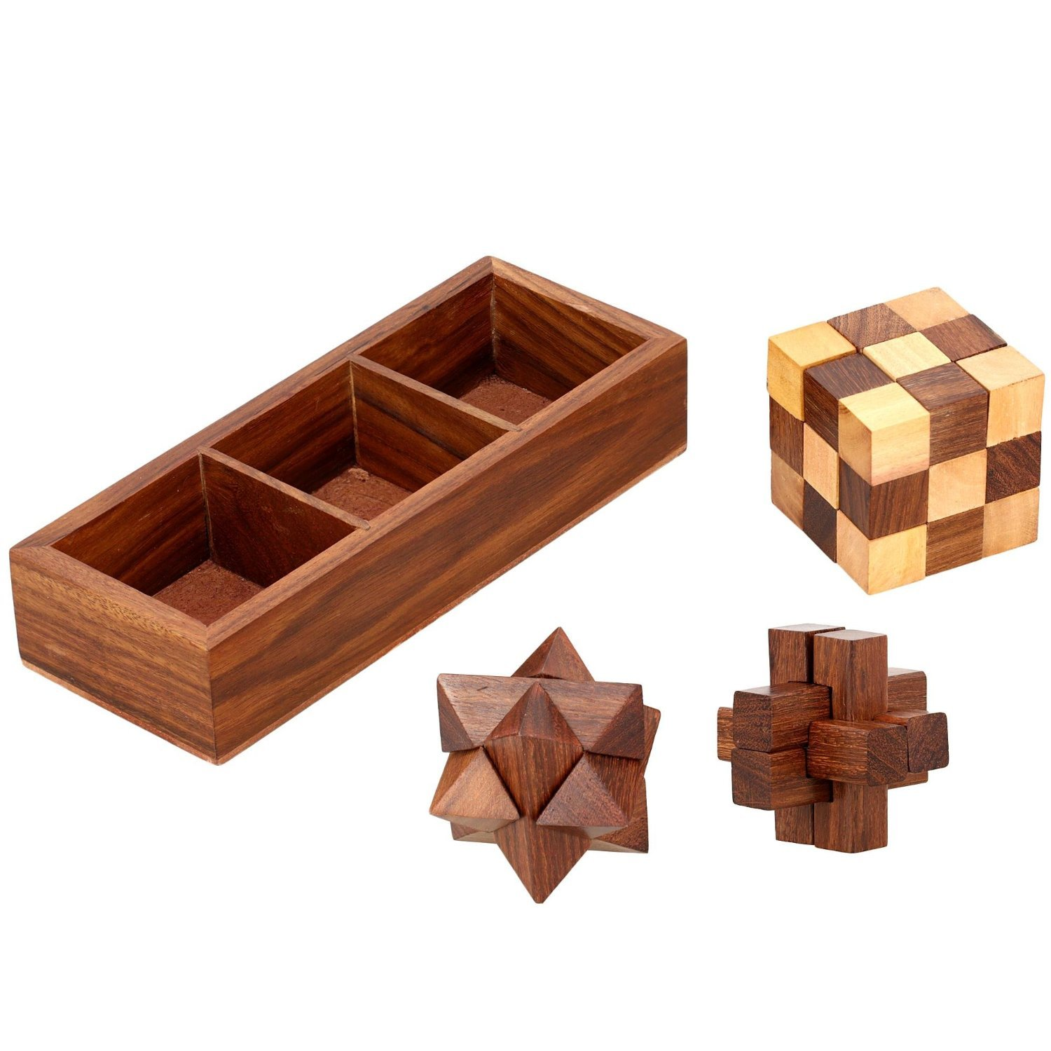 Indian Glance 3D Puzzles for Adults | Kids | Teens | Boys | Girls | Fun- Includes Wood Interlocking Blocks, Diagonal Burr, and Snake Cube in Storage Box - Wooden Puzzle Games Set