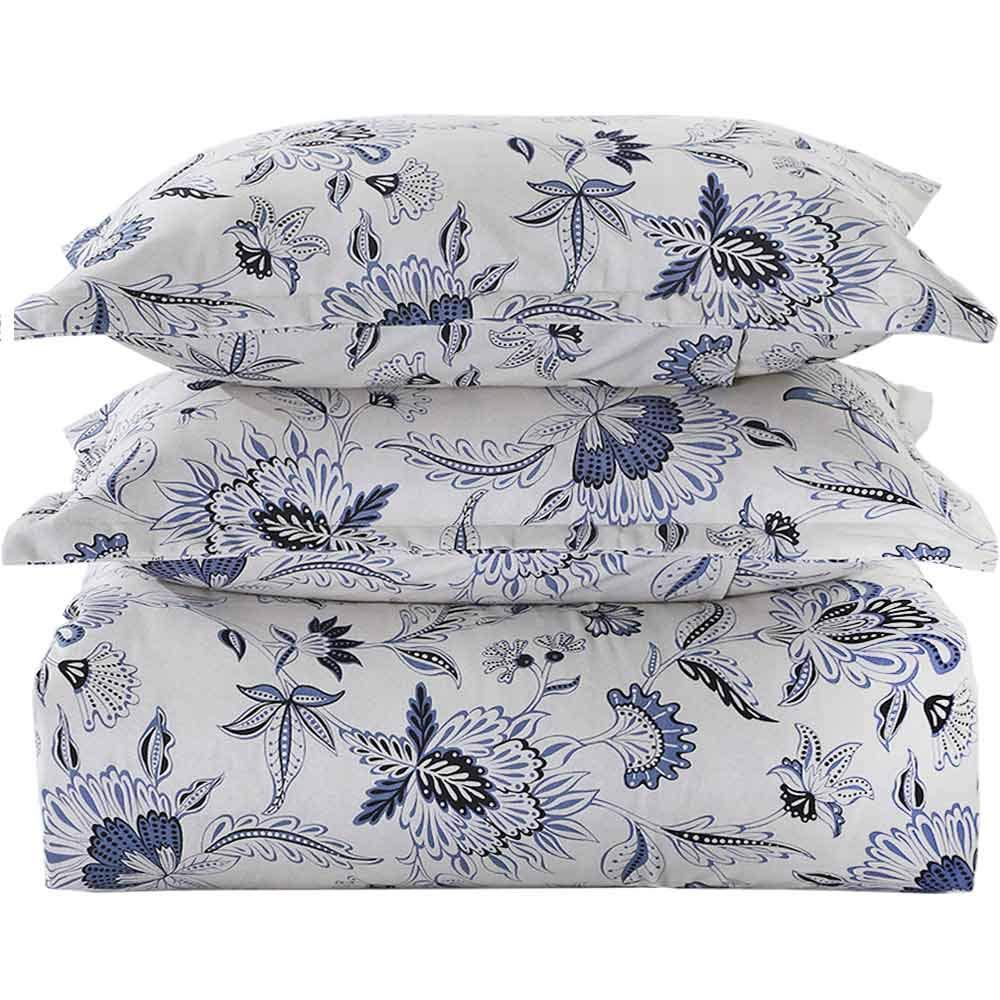 Duvet Cover Set Queen Size - 3 Pieces Floral Leaf Vintage Flower Microfiber Soft Lightweight Down Duvet Comforter Quilt Bedding Covers with Zip Ties - 90x90 inch for Women Men, Beige Navy Blue