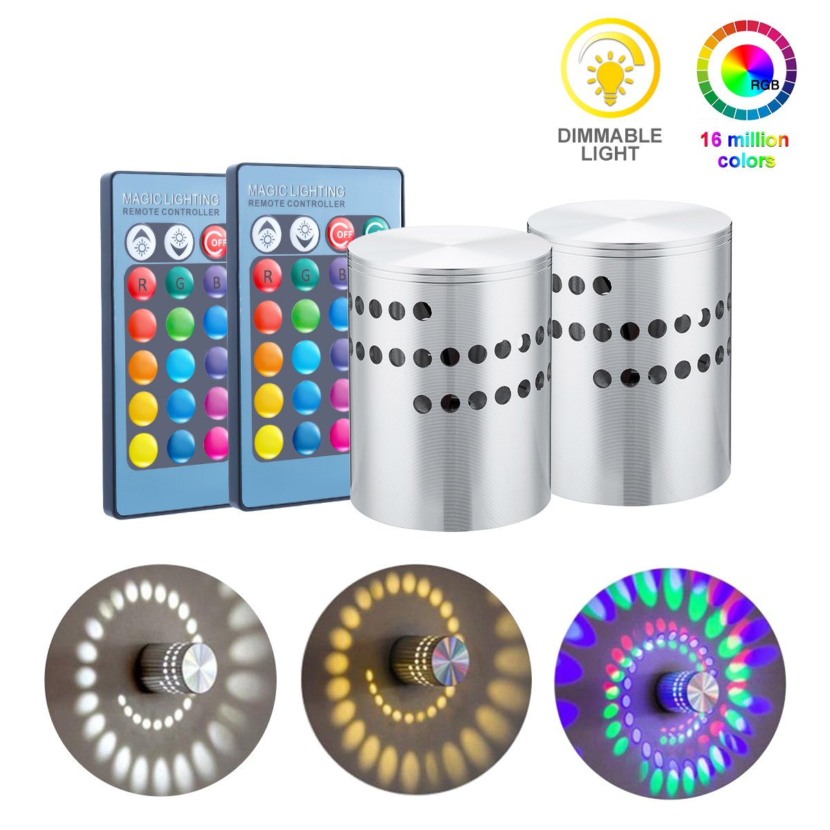 KingSo 2 Pack RGB Spiral LED Wall Light, 3W Remote Control Dimmable Mini Ceiling Light,Surface Install Colorful Lamp, 360 Degrees Beam Angle, For Party,Bars,Hotel,Bedroom,Hallway,Corridor,Cafe