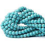 Qiwan Tiger Eye A 级宝石散珠天然圆形水晶能量石修复珠宝制作能力 蓝绿色 8mm Huanghy-1