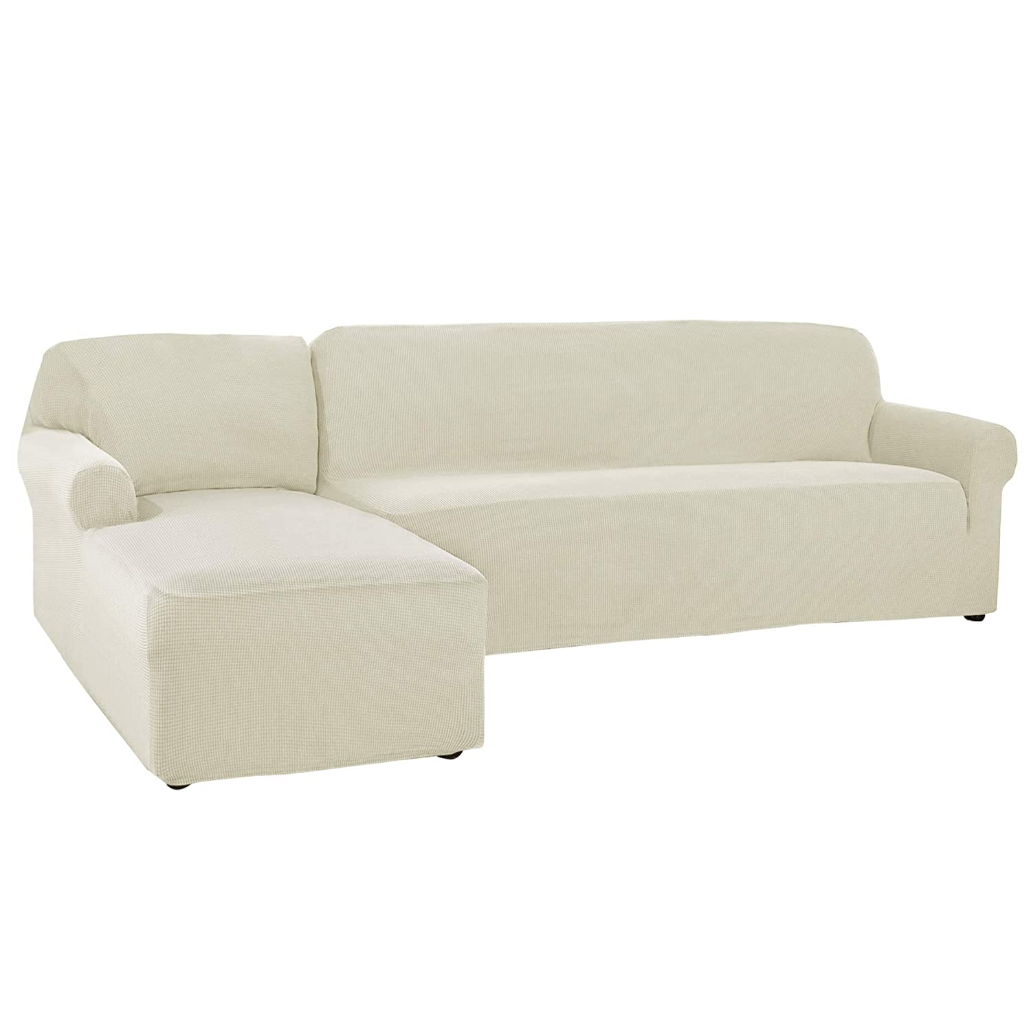 CHUN YI 2 Pieces L-Shaped Jacquard Polyester Stretch Fabric Sectional Sofa  Slipcovers (Left Chaise(2 Seats), Ivory White)