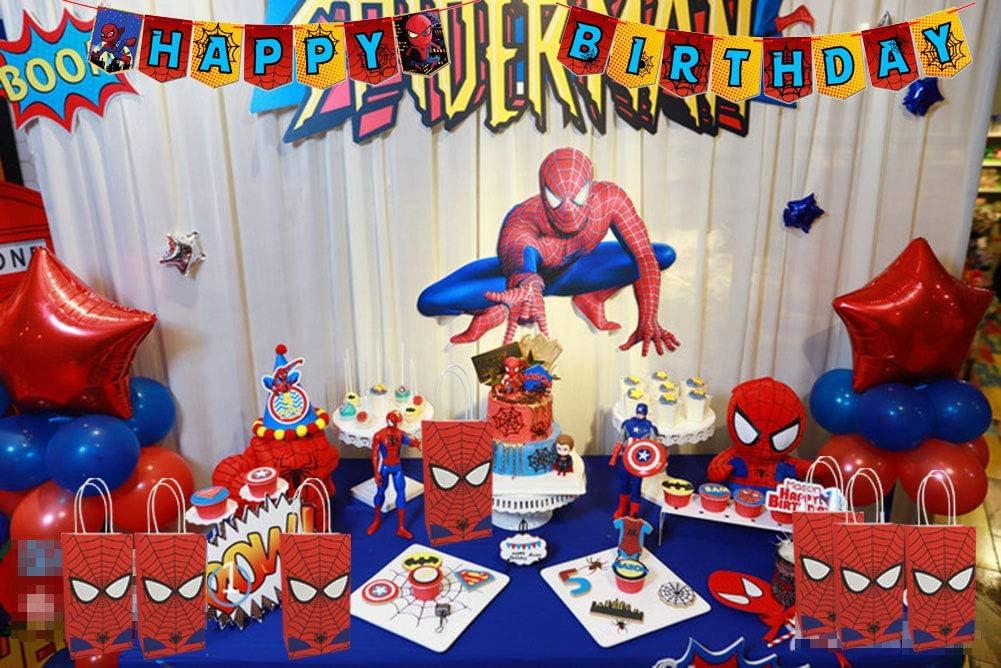 Spiderman Theme Happy Birthday Banner Superhero Party Suministros Para Niños Y Adultos Decoración De Fiesta De Cumpleaños Toys Games