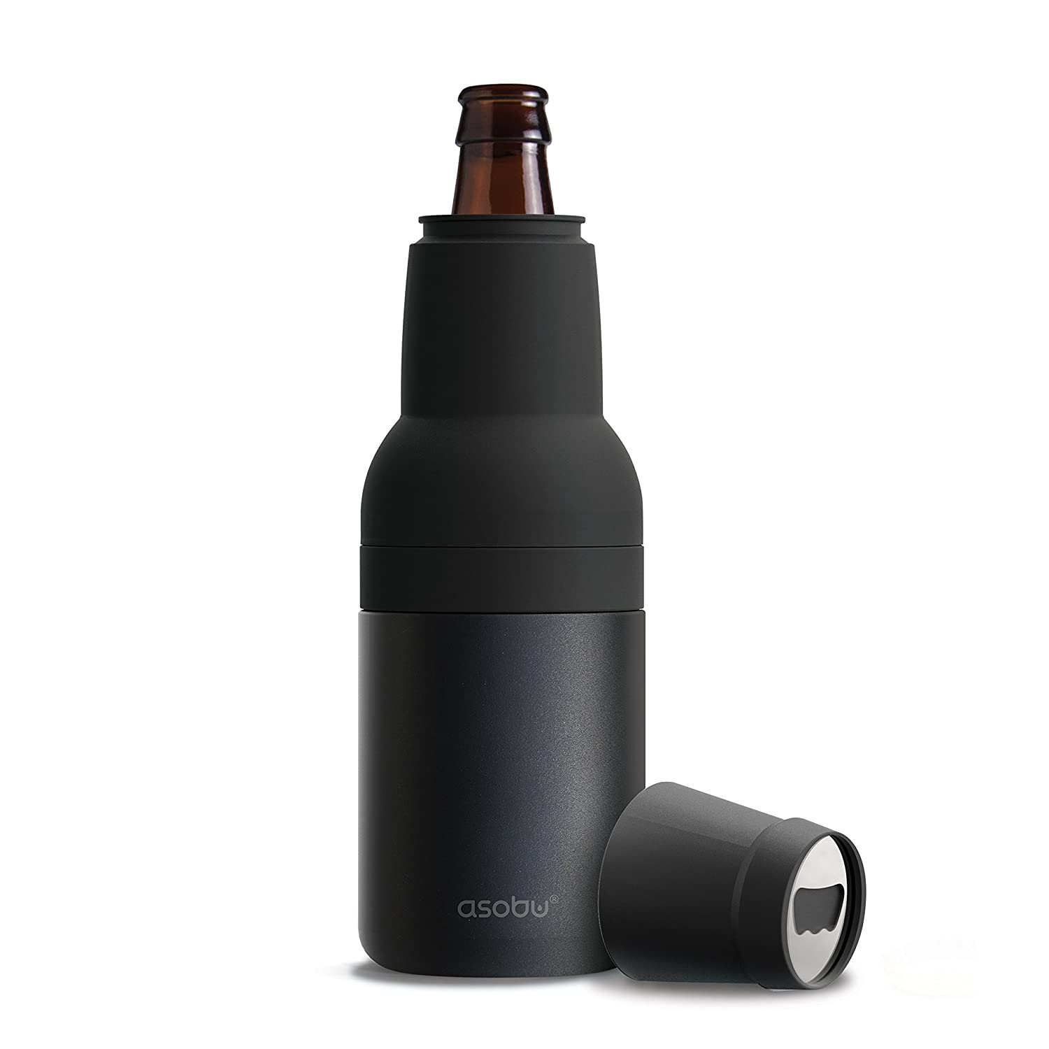 Asobu Frosty Beer 2 Go Vacuum Insulated Double Walled Stainless Steel Beer Bottle and Can Cooler with Beer Opener (black)