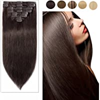 "Clip in Human Hair Extensions 100% Real Remy Natural Long Straight Full Head 8pcs colorful Silky Soft-#02 Dark Brown 13""-80g"