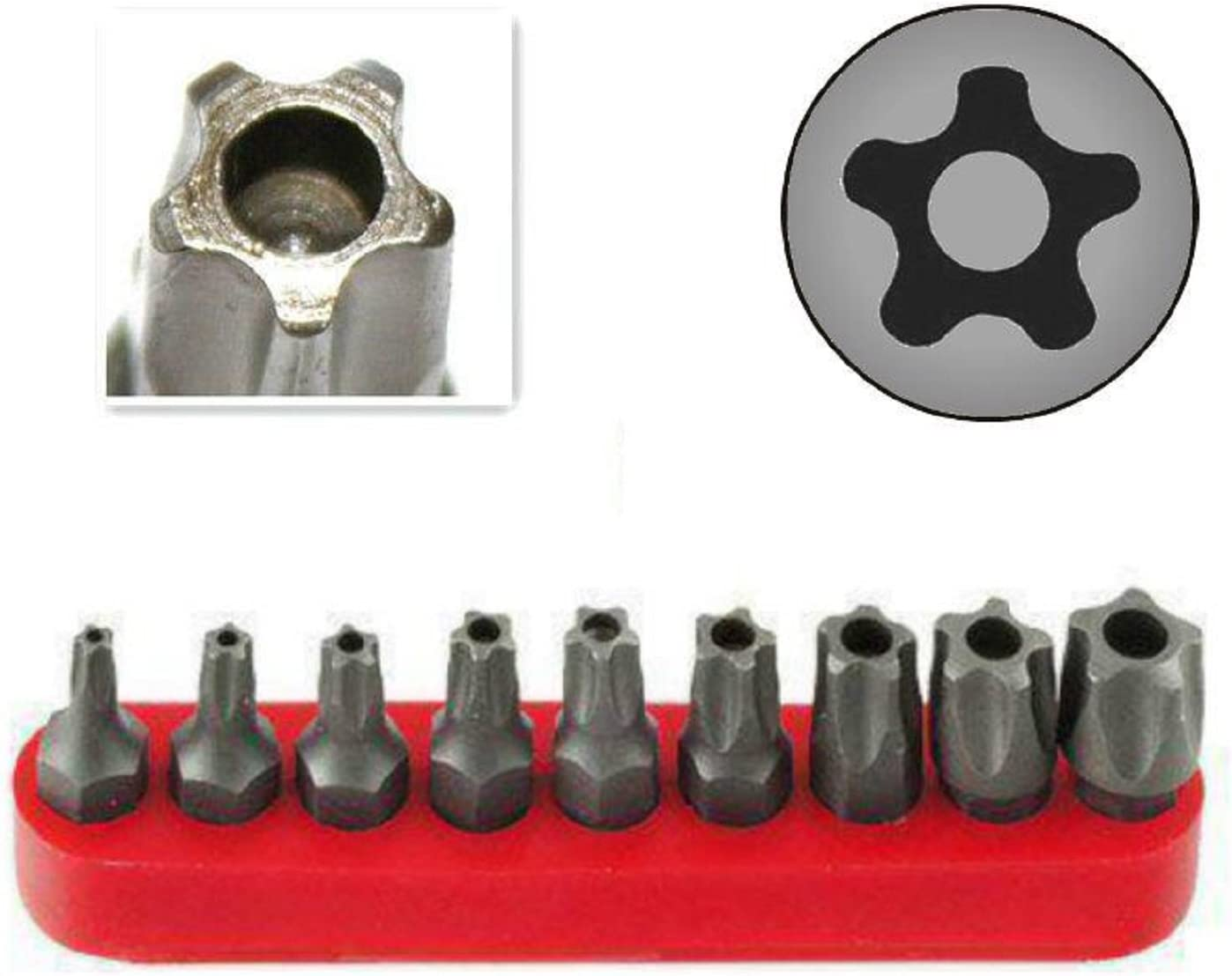15,20,25,27,30,40,45,50 Multifunction Damage//Shear Resistant Hollow Torque Kit Driver Bit Set Security Tamper Proof T10 Ram-Pro 9Pc Torx Star 5 Point