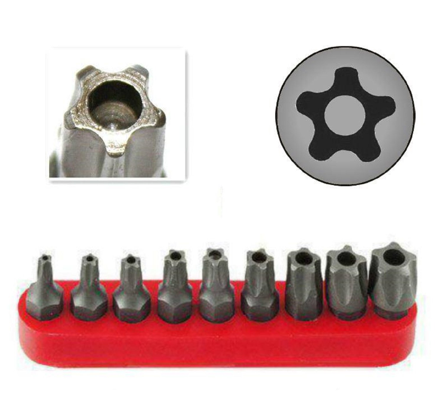 RAM-PRO 9Pc Torx Star 5 Point, Security Tamper Proof, Driver Bit Set - T10, 15,20,25,27,30,40,45,50 - Multifunction Damage/Shear Resistant Hollow Torque Kit by Ram-Pro