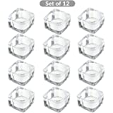 Square Glass Tealight Candle Holder For Home, Weddings Or Gift | M&W 12 New