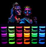 Midnight Glo Washable Non-Toxic UV/Backlight Reactive Neon Fluorescent Face and Body Paint Glow Kit, 6 Bottles (.75 oz…