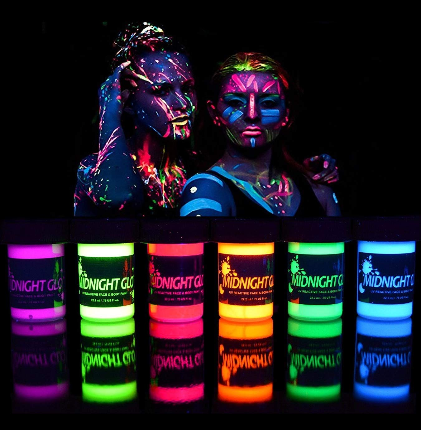 UV Neon Face   Body Paint Glow Kit  6 Bottles 0 75 oz  Each  - Top Rated Blacklight Reactive Fluorescent Paint - Safe  Washable  Non-Toxic  By Midnight Glo