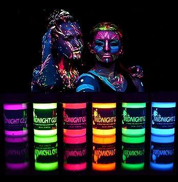 Amazon Com Midnight Glo Black Light Paint Uv Neon Face Body Paint Glow Kit 6 Bottles 0 75 Oz Each Blacklight Reactive Fluorescent Paint Safe Washable Non Toxic Home Improvement