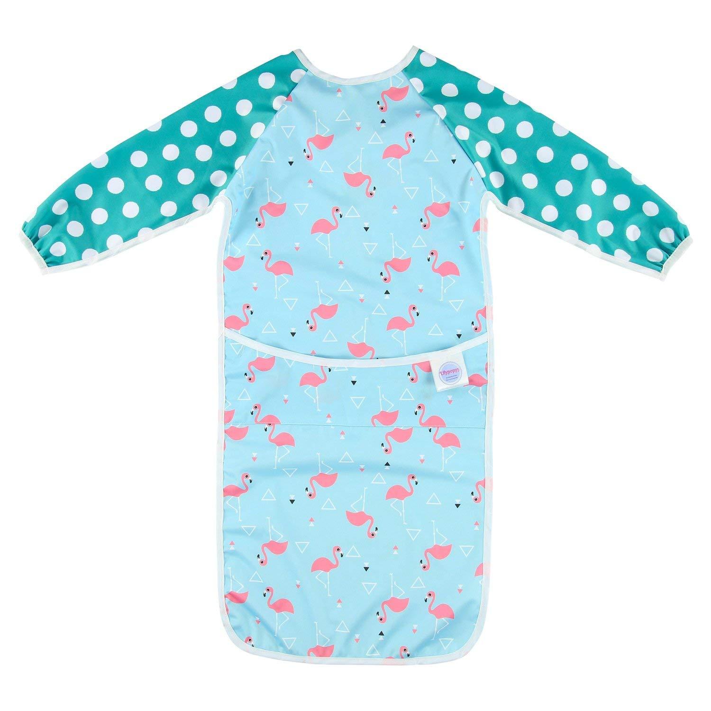 Lilypoppy (renard) bavoir à manches longues pour bébé et petit enfant - Imperméable - Tablier extra longue à l'avant pour retenir tous les aliments renversés