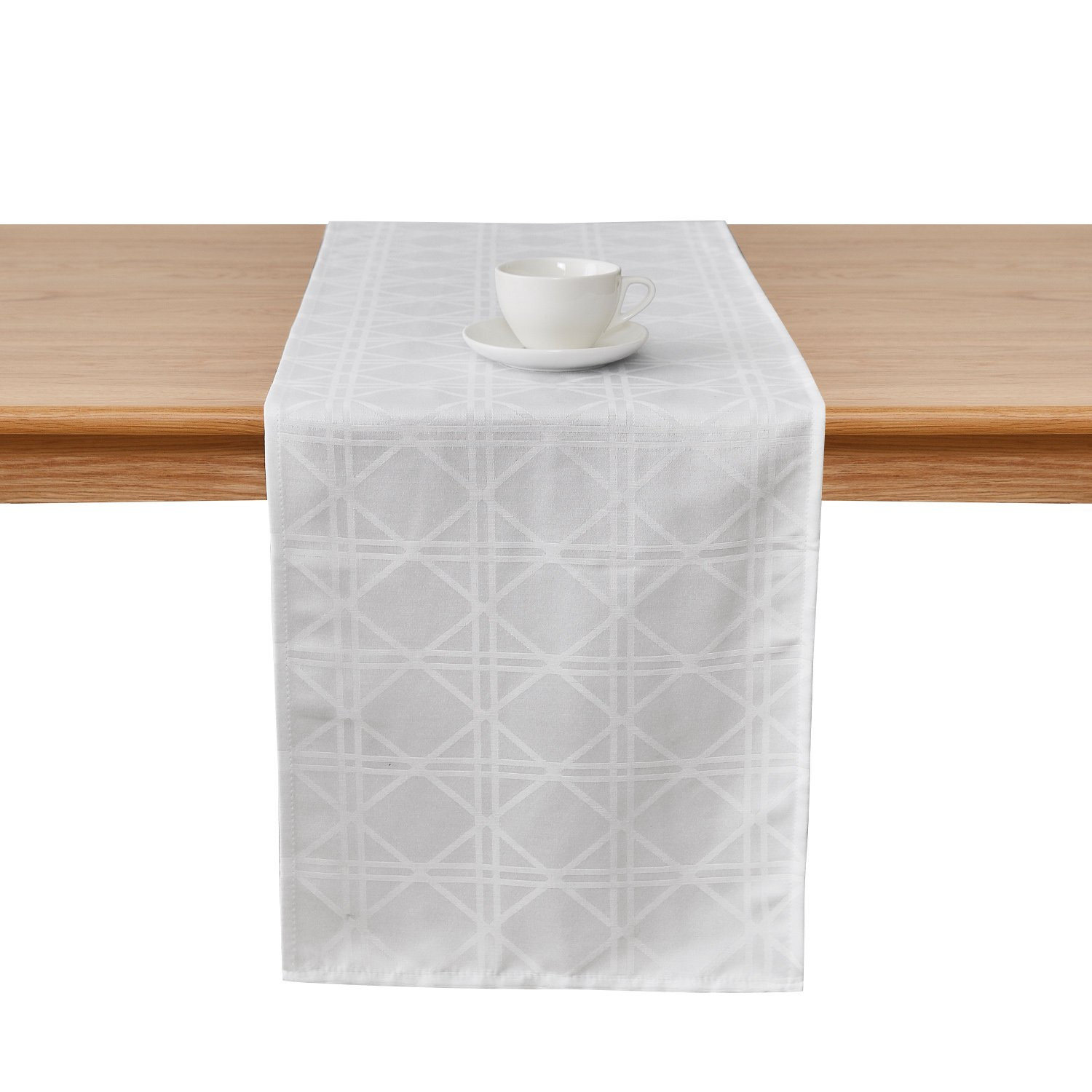 Deconovo Jacquard Damask White Table Runner Wrinkle and Water Resistant Spill-Proof Decorative Dining and Wedding Runners with Geometric Patterns 14 x 72 inch