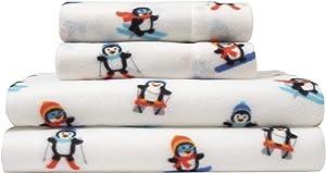 Elite Home Ultra-Soft Winter Nights Collection Microfleece Sheet Set, Alpine Penguin Red, Queen