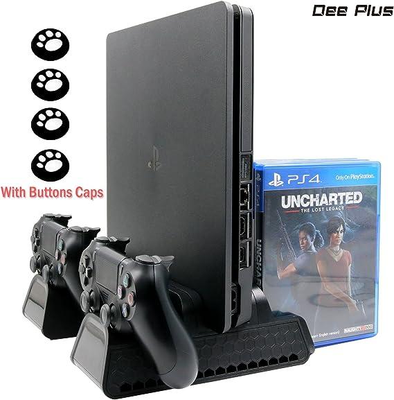 Dee Plus PS4 / PS4 Slim / PS4 Pro Soporte vertical, con 3 refrigeradores integrados Dual Controllers Estación de carga para PS4 / PS4 Slim / PS4 Pro, con 12 PCS Discos