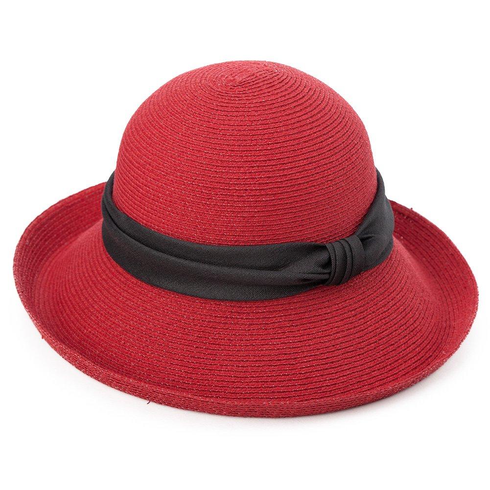 Siggi Womens Floppy Summer Sun Beach Japan-Imported-Straw Hats UPF Packable Bucket Cloche Hat 56-59cm Red