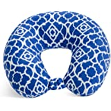 World's Best Feather Soft Microfiber Neck Pillow, Cobalt Blue Trellis, Neck-supportive Travel Pillow