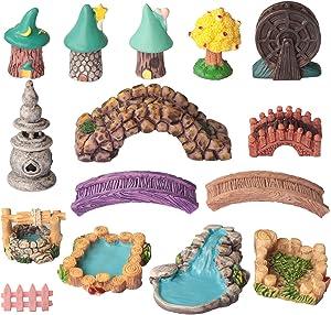 Fairy Garden Kit, SPWOLFRT 15 Pieces Fairy Garden Accessories, Fairy Garden Animals, Miniature Figurines, Micro Landscape Ornaments Kit, Garden DIY Kit, Environmental Resin (Style A)
