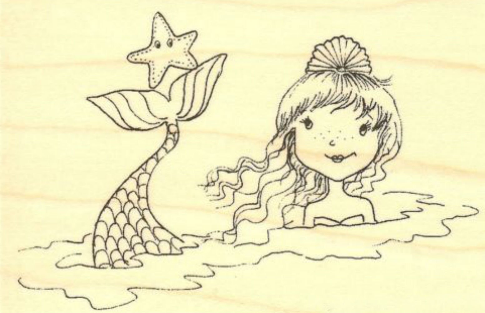 {Single Count} Unique & Custom (3.5'' by 2.5'' Inches) ''Mystical Underwater Creatures Mermaid and Starfish Scene'' Rectangle Shaped Genuine Wood Mounted Rubber Inking Stamp