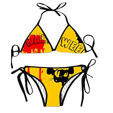 d1ae1694178d5 Black Halloween Bralette Halter Bikini Swimsuit Tankinis Strappy top for  Women
