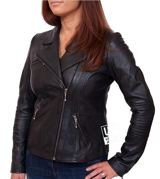 Womens Black Leather Biker Jacket Mercury Soft Nappa Amazon Co