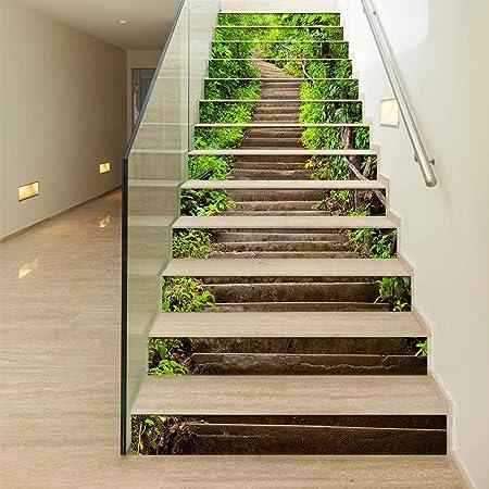 FCFLXJ Pegatinas De PVC 3D Autoadhesivas 13 Piezas De Escaleras Adhesivos Pegatinas De Pared Decoración De Sala De Estar Escaleras De Plantas Verdes: Amazon.es: Hogar