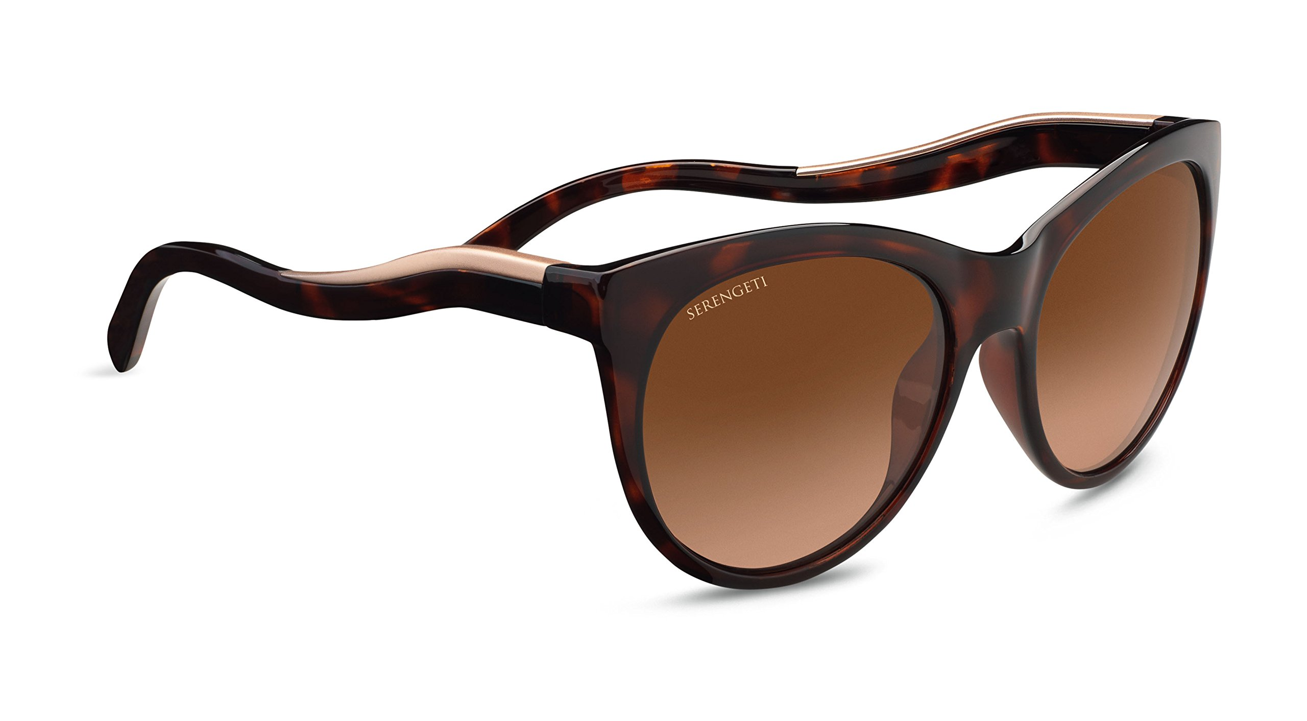 Serengeti Valentina Sunglasses Shiny Dark Tortoise Frame/Satin Rose Gold, Brown