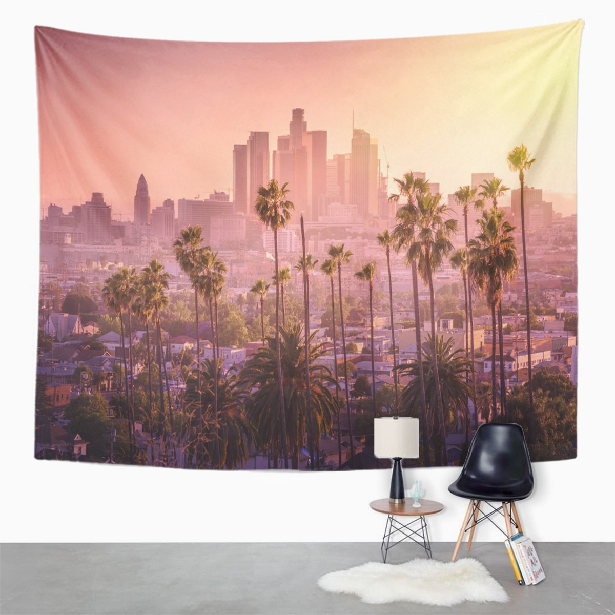 Amazon TOMPOP Tapestry Beautiful Sunset Of Los Angeles Downtown Skyline And Palm Home Decor Wall Hanging For Living Room Bedroom Dorm 60x80 Inches