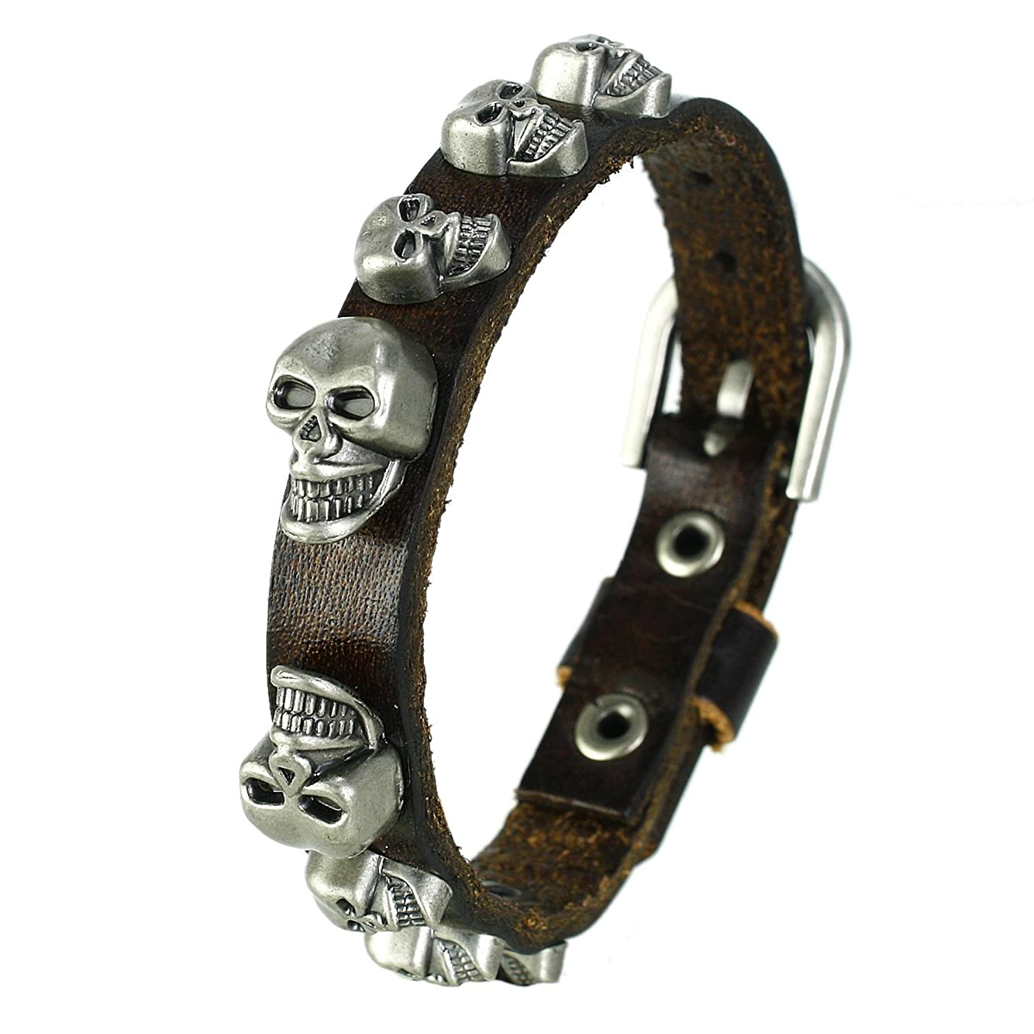 Men's Gothic Skull Black Leather Bracelet
