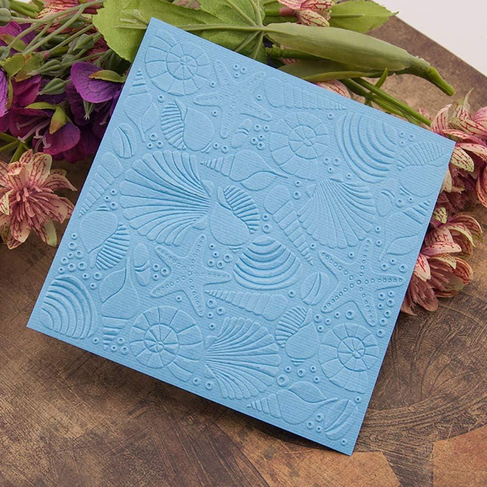 6Pcs Starfish Sunshine Plastic Embossing Folder DIY Craft Template Molds Stamp Stencils Scrapbook Paper Cards Photo Album Making Tool Embossing Folders Handmade Art Craft Supplies Decorating Mold
