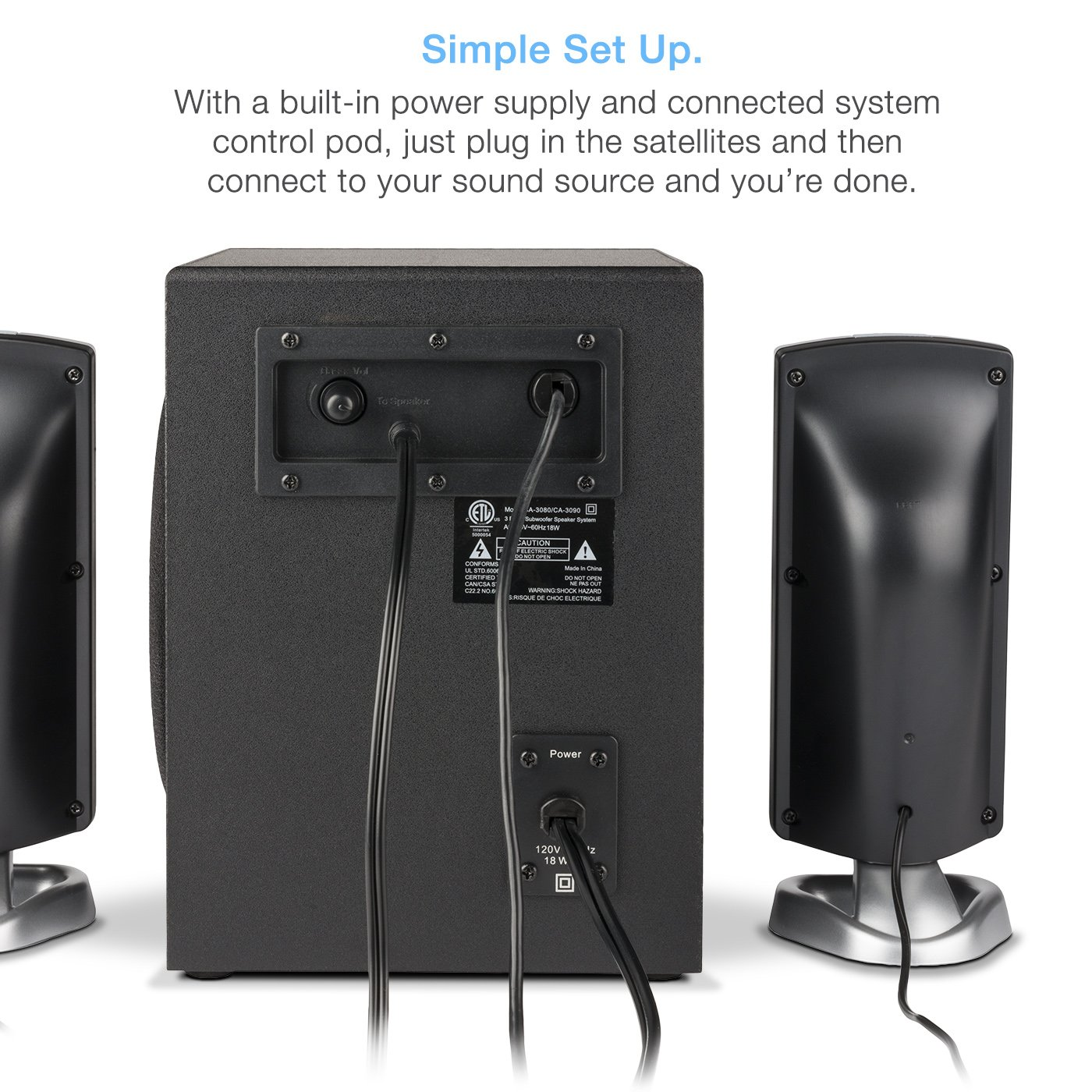 Cyber Acoustics 2.1 Subwoofer Speaker System with 18W of Power – Great for Music, Movies, Gaming, and Multimedia Computer Laptops (CA-3090) by Cyber Acoustics (Image #6)
