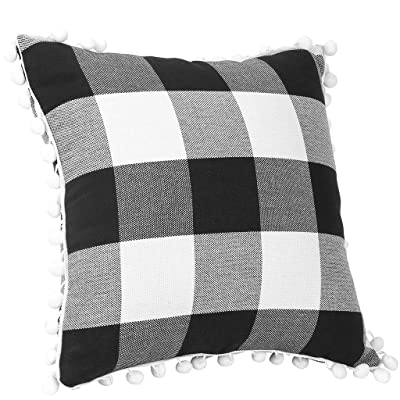 Giulot Outdoor Plaid Decorative Cushion Covers Pillows Covered with Tassel Cotton Patio Accent Pillows Throw Pillow Covers 18x18 Inches Square Patio Cushions for Couch Bed Sofa Patio Furniture: Home & Kitchen
