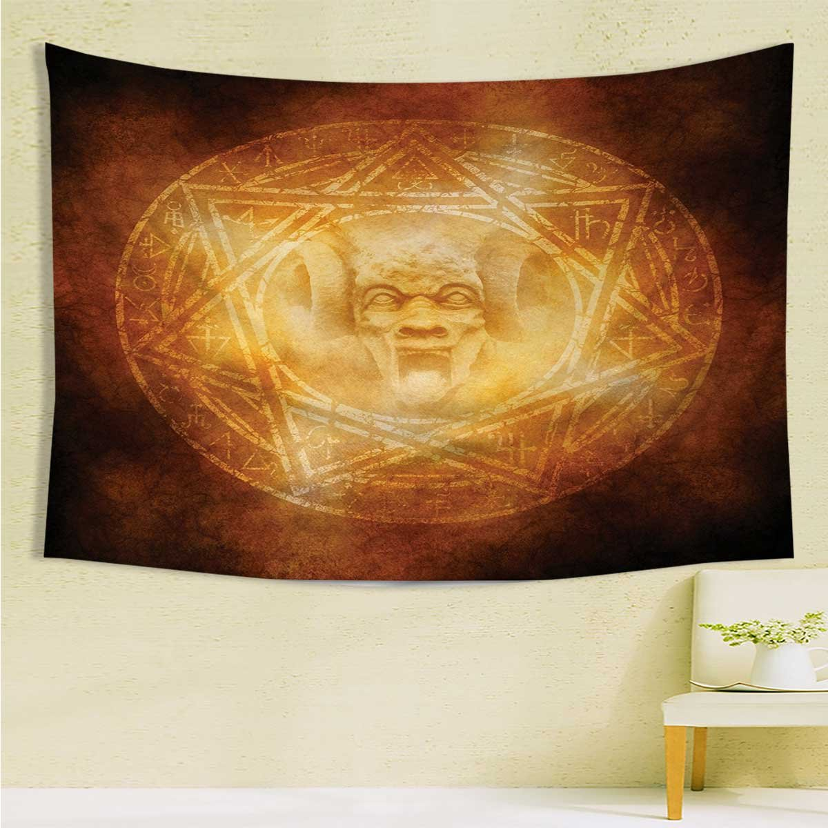 longbuyer Horror HouseBed Cover Blanket CurtainDemon Trap Symbol Logo Ceremony Creepy Scary Ritual Fantasy Paranormal Designfor Living RoomL59.1 xH82.7 Orange.