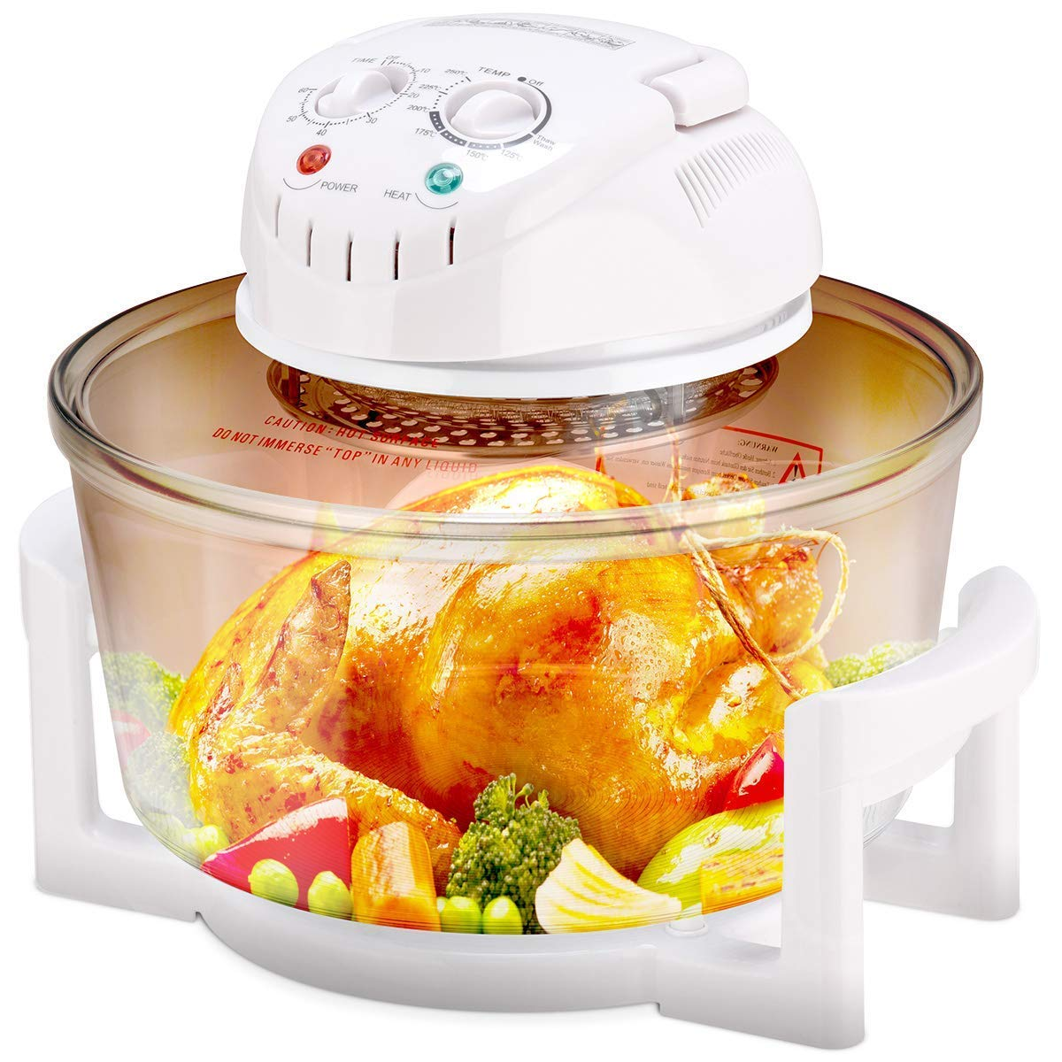 Enhanced halogen oven, 1400W 12L Air fryer with self-cleaning function, adjustable temperature and timer, includes extension ring for 17 liter rack, high rack, low rack and clamp