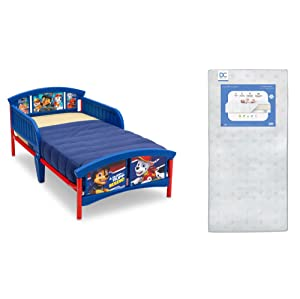 Delta Children Plastic Toddler Bed, Nick Jr. PAW Patrol + Delta Children Twinkle Galaxy Dual Sided Recycled Fiber Core Toddler Mattress (Bundle)
