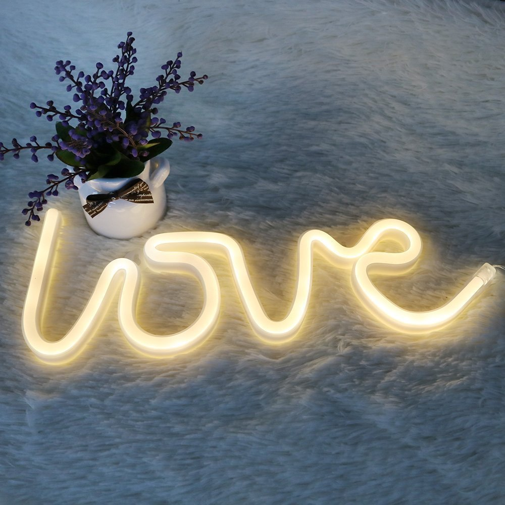 DELICORE Decorative LED Love Shaped Neon Night Light with Warm White Lamp-Neon Night Light Operated by Battery/USB for Children's Room Party Christmas Wedding Decoration by DELICORE (Image #2)