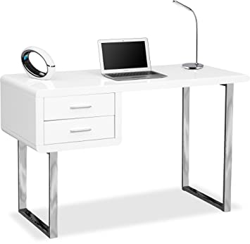 Fantastic Centurion Supports Harmonia Gloss White With Chrome Legs 2 Drawer Contemporary Home Office Luxury Computer Desk Download Free Architecture Designs Intelgarnamadebymaigaardcom